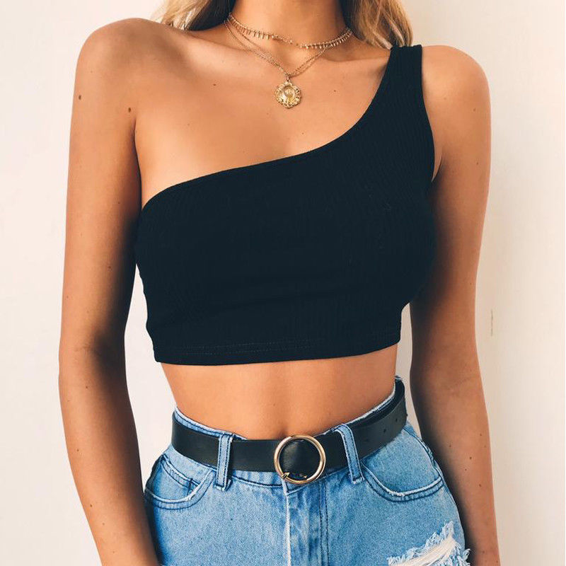 New Women Casual Tops One Shoulder Tank Tops Sexy Ladies Sleeveless Crop Top Fashion Summer Cami