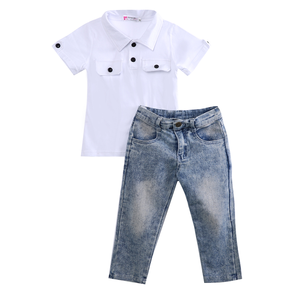 2pc clothing set!! 2016 boys white short sleeve pure white t-shirt top + long jeans pants summer clothes boys batman clothing set kid superman short sleeve t shirt long jeans children summer cartoon superhero cosplay costume