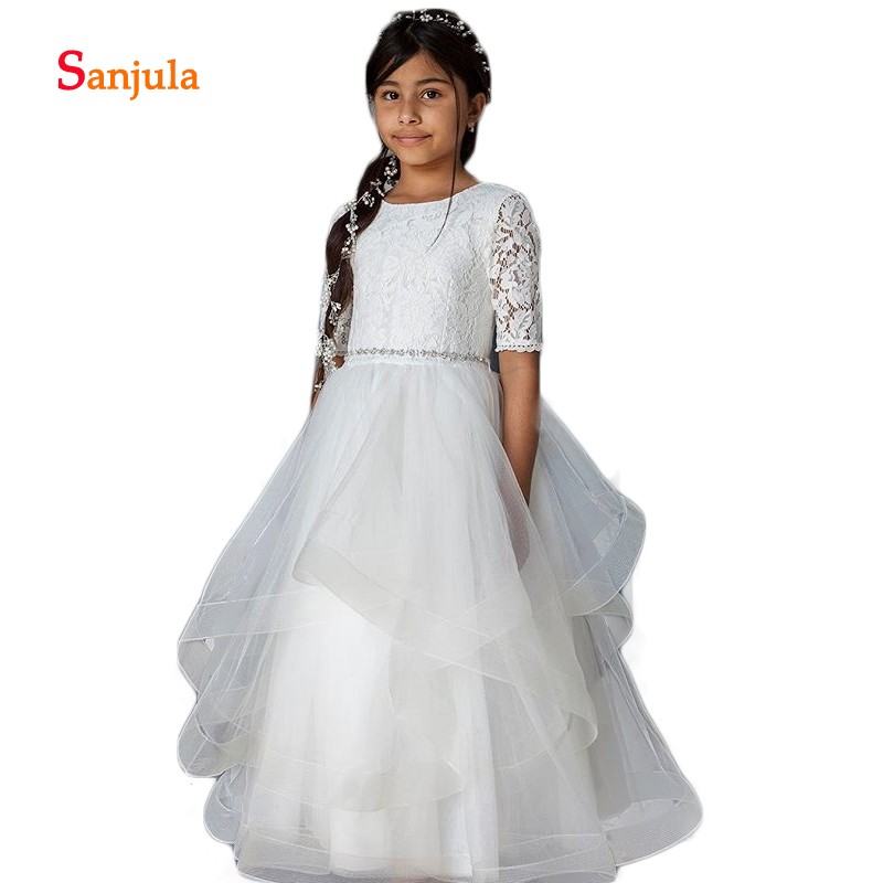 Half Lace Sleeve   Flower     Girls     Dresses   A-Line Ruffles Skirt Beaded Waist Cute First Communion   Dresses   vestido de daminha D291
