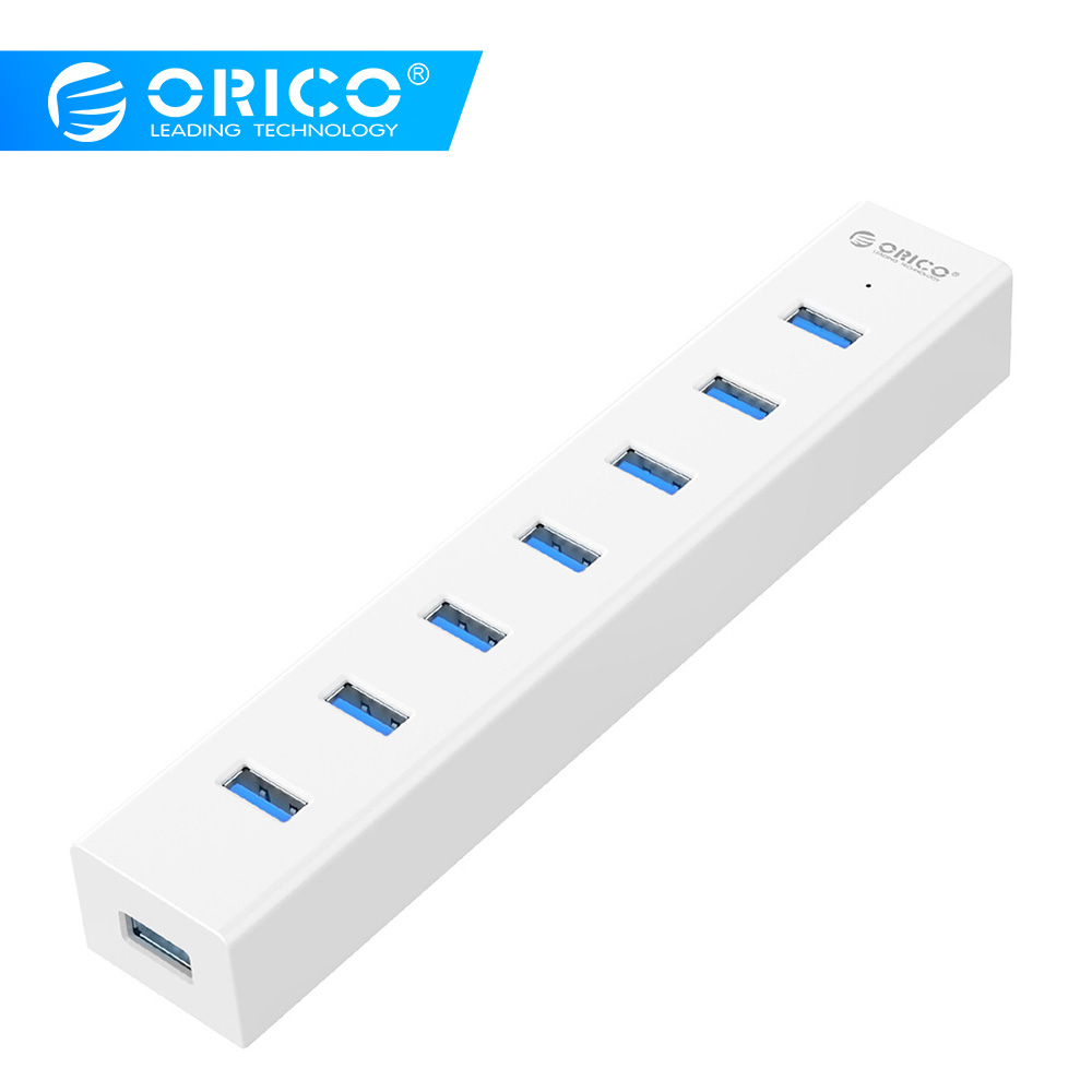 ORICO 7 ports USB3.0 HUB EU prise avec adaptateur dalimentation 5 V SuperSpeed USB3.0 5gbps Transmission rapideORICO 7 ports USB3.0 HUB EU prise avec adaptateur dalimentation 5 V SuperSpeed USB3.0 5gbps Transmission rapide