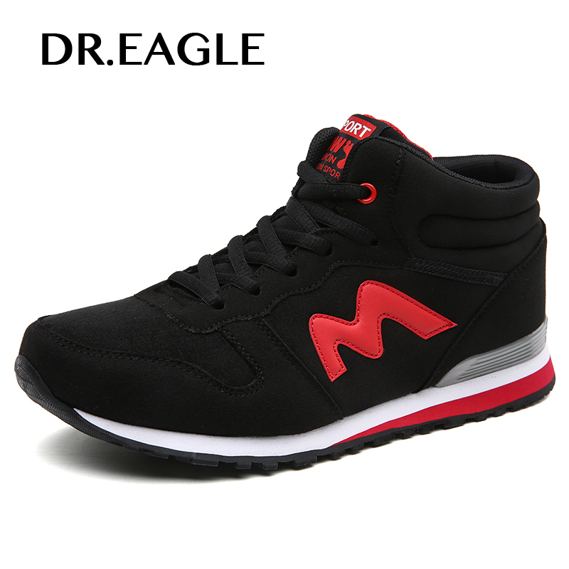 DR.EAGLE Leather Winter Outdoor sneaker Fur Lace Up Men Sneakers cotton Comfortable Running shoes sport boots sneakers
