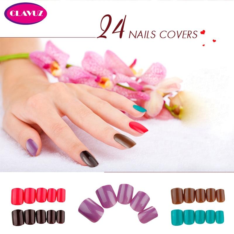 CLAVUZ 24PCS False Tips Press On Manicure Short Length No
