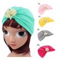 2016 new Kids girls cotton turban with the pearl jewerly winter lovely baby hat cap kids Turbante Hat
