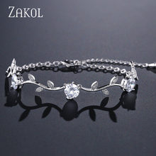 ZAKOL Trendy Bride Jewelry White Color Leaf Charm Cubic Zirconia Bracelet & Bangles Clear CZ Crystal Bangles For Women FSBP177(China)