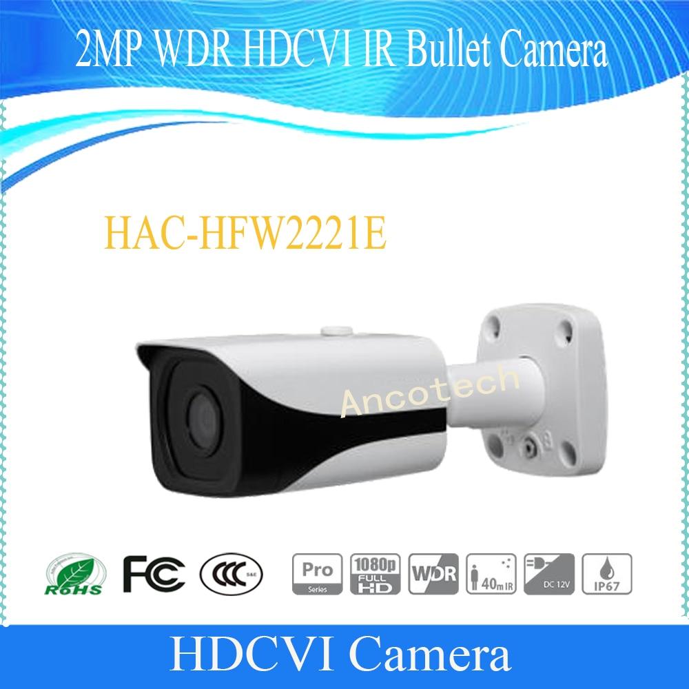 Free Shipping DAHUA CCTV Security Camera 2MP WDR HDCVI IR Bullet Camera IP67 without Logo HAC-HFW2221E free shipping dahua cctv camera 4k 8mp wdr ir mini bullet network camera ip67 with poe without logo ipc hfw4831e se