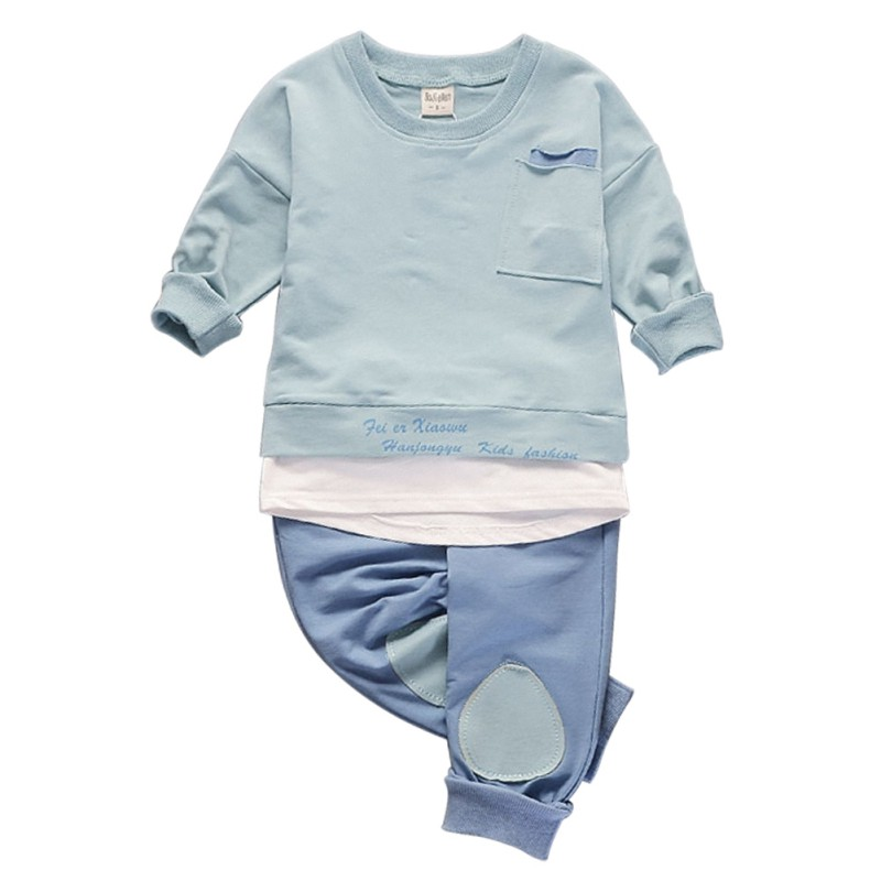 2017 Boy Girls Autumn Solid Long-Sleeve Pullovers Baby O-Neck Shirt Tops & Pants Casual Clothing Set