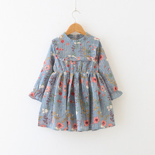Girls Dresses New Fashion Kids Dress Floral Long Sleeve Princess Cute Childrens Clothing