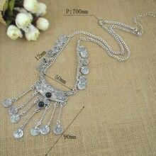 Long Silver Coin Pendant Necklace