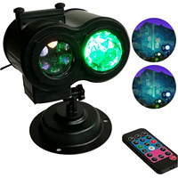 Waterproof Double head Led Water Wave Projector Lights with 12 Slide Patterns Remote Controller Toy for Christmas Party