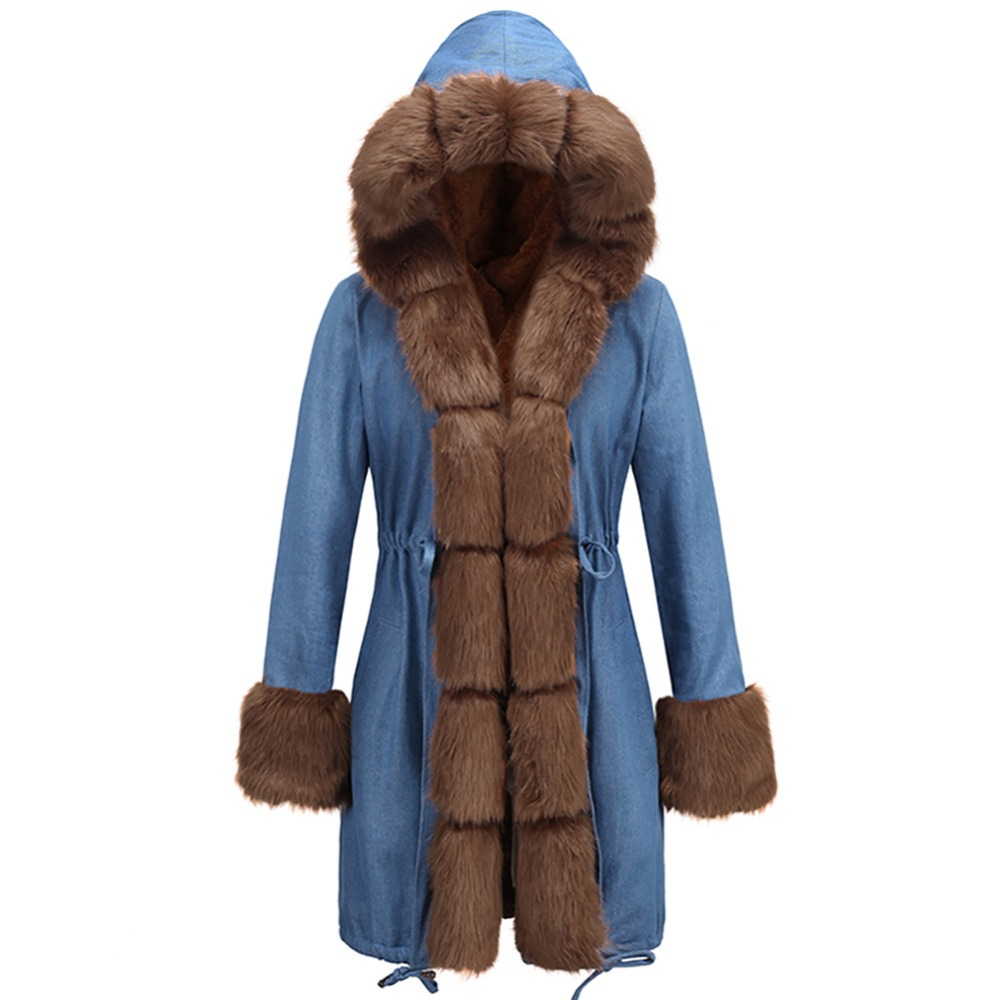 D'hiver Chaud Parka Manteau Slim Vestes Aa0937 Gris Long Fourrure Ygby6f7v