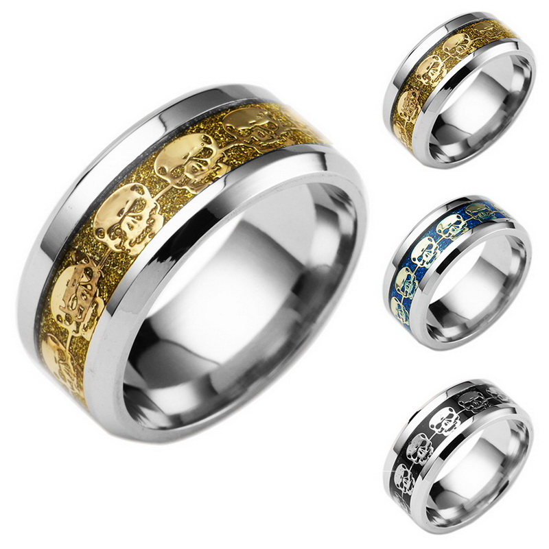new arrivals western style skull three colors for choose stainless steel rings for men women - Western Style Wedding Rings