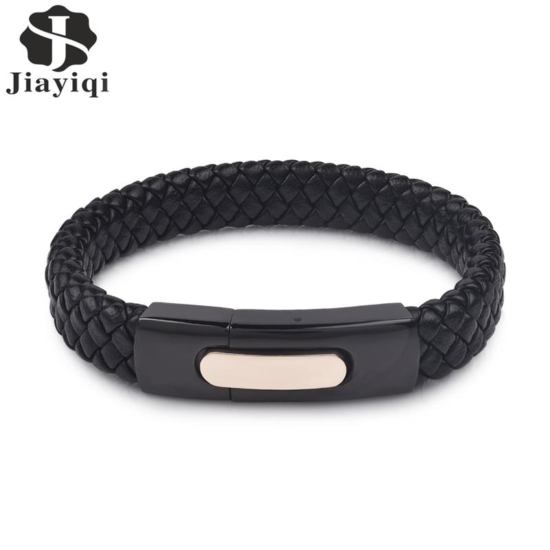 Jiayiqi Fashion Exquisite Black Braided Genuine Leather Bracelet Men Black Stainless Steel Clasp Wristband For Male Party Gift