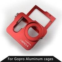 Gopro accesorios jaula de perro marco de montaje de aluminio a prueba de golpes caso de vivienda para go pro hero 3 3 + 4 plata negro cámara