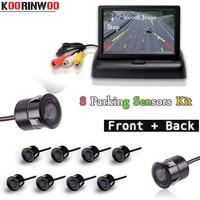 Koorinwoo Video Car Parking Sensors 8 Radars 4 3 Inch Car Monitor Alarm Front Camera Rear