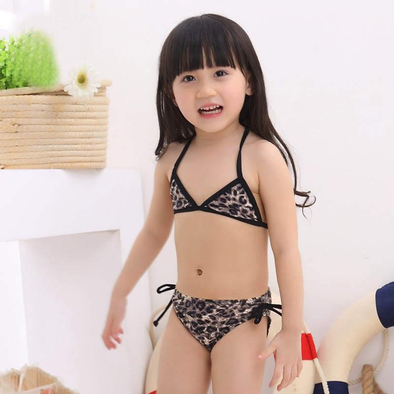 Swimsuit for Girls Leopard split Bikini Set kids 2-piece swimwear for Swimming pool and beach with swimming Cap