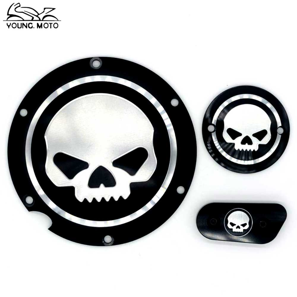 Skull Motocycle CNC Derby Timing Timer Cover Engine For Harley XL XR Sportster 883 1200 XL XL883 XL1200 Forty-Eight Seventy Two motorcycle parts black deep cut finned derby timing timer cover for harley davidson sportster xl883 xl1200