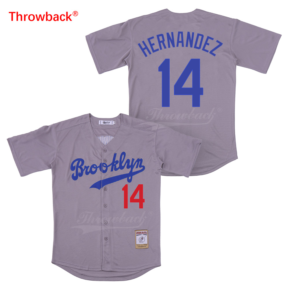Throwback Jersey Men 39 s Brooklyn Hernandez Jersey Movie Baseball Jerseys Colour White Gray Blue Black Shirt Stiched Wholesale in Baseball Jerseys from Sports amp Entertainment