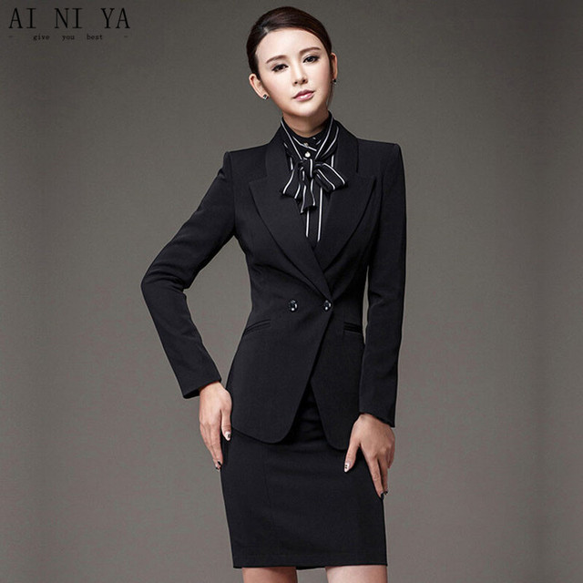 New Women Skirt Suits Black Elegant Autumn Formal Wear To Work Office Business Slim Ol Jacket
