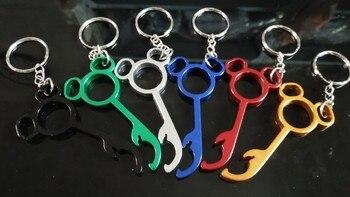 300pcs/lot mini mickey bottle opener keychain, unique bottle opener keychain, metal wedding gift bottle opener keychain