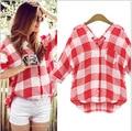 Na primavera de 2015 nova blusa de manga comprida. All jogo de malha solta camisa de vestido