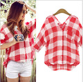 Primavera 2015 nueva blusa de manga larga. celosía del todo fósforo base camisa floja de la nueva vestido