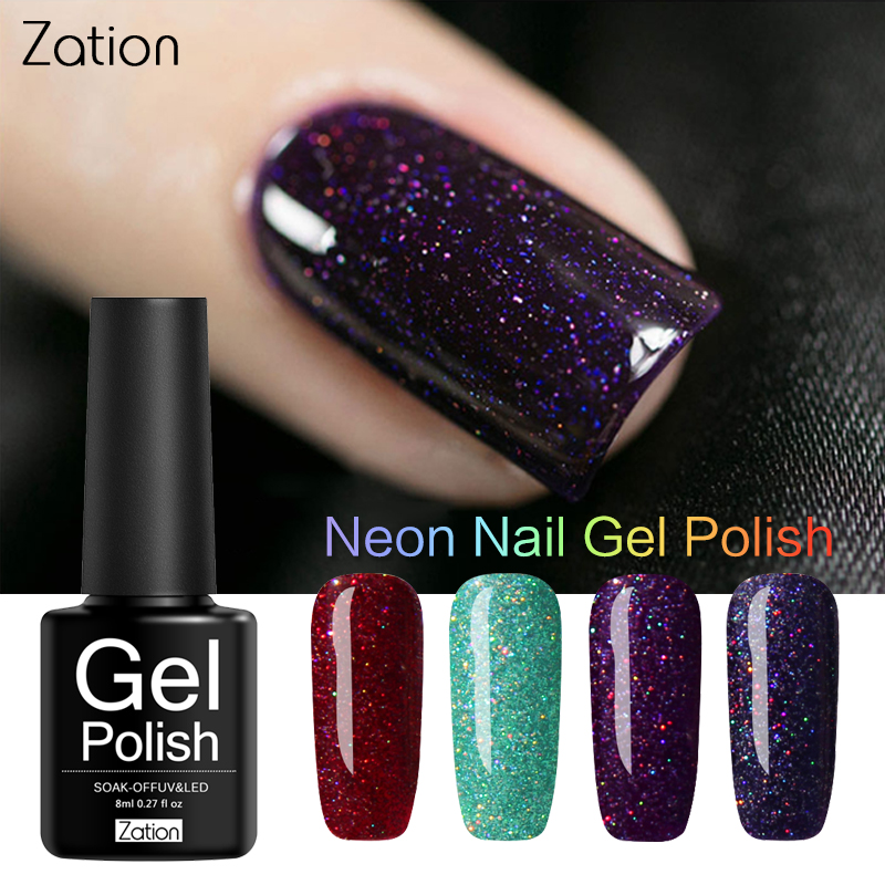 Zation Neon Pigment Glitter Sticker Shining Gel Nail