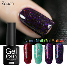 Zation Neon Pigment Glitter Sticker Shining Gel Nail Polish Base and Top Needed Nails Painting Manicure Decorations Gel Varnish(China)