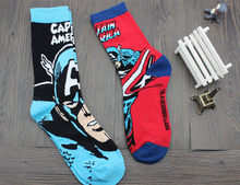 Wholesale MOVIE MARVEL Comic Captain America Personality Men Dress Socks Fashion funny Soft Comfortable Cotton Male happy Socks(China)