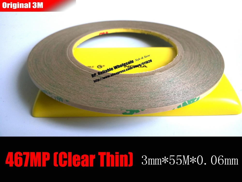 (0.06mm Thickness), 3mm*55 meters 3M 467MP 200MP Double Sided Sticky Tape, for Foam Rubber Keyboard