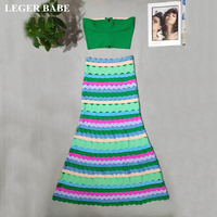 LEGER BABE Autumn Striped Women Mermaid Bodycon Vestidos Bandage Outfit 2 Two Pieces Set Strapless Top Evening Party Dress