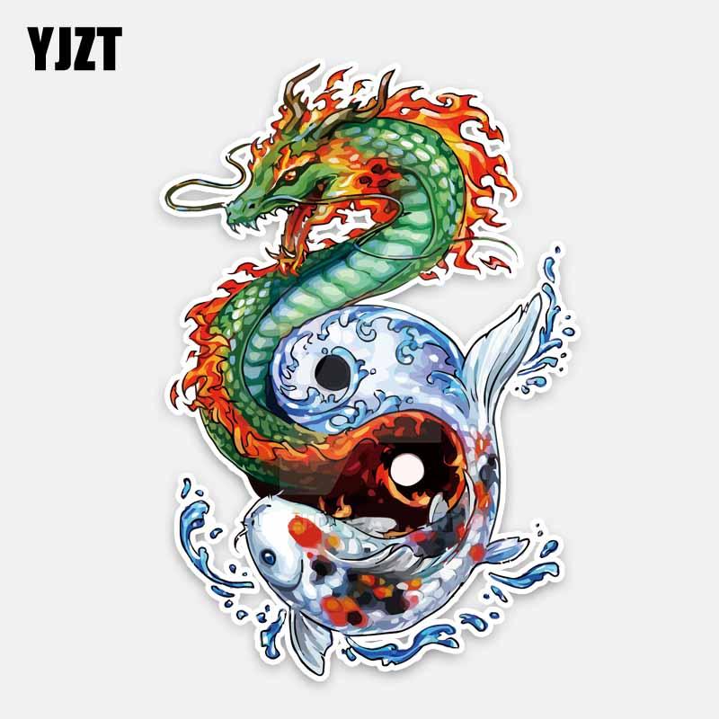 YJZT 10.8CM*16CM Personalized Animal Dragon And Fish PVC Decal Car Sticker 5-0272