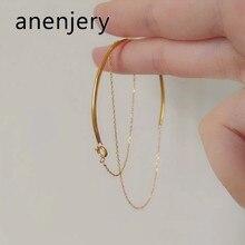 ANENJERY – chaîne multicouches en argent Sterling 925, minimaliste, incurvée, Semi-circulaire, nouvelle collection