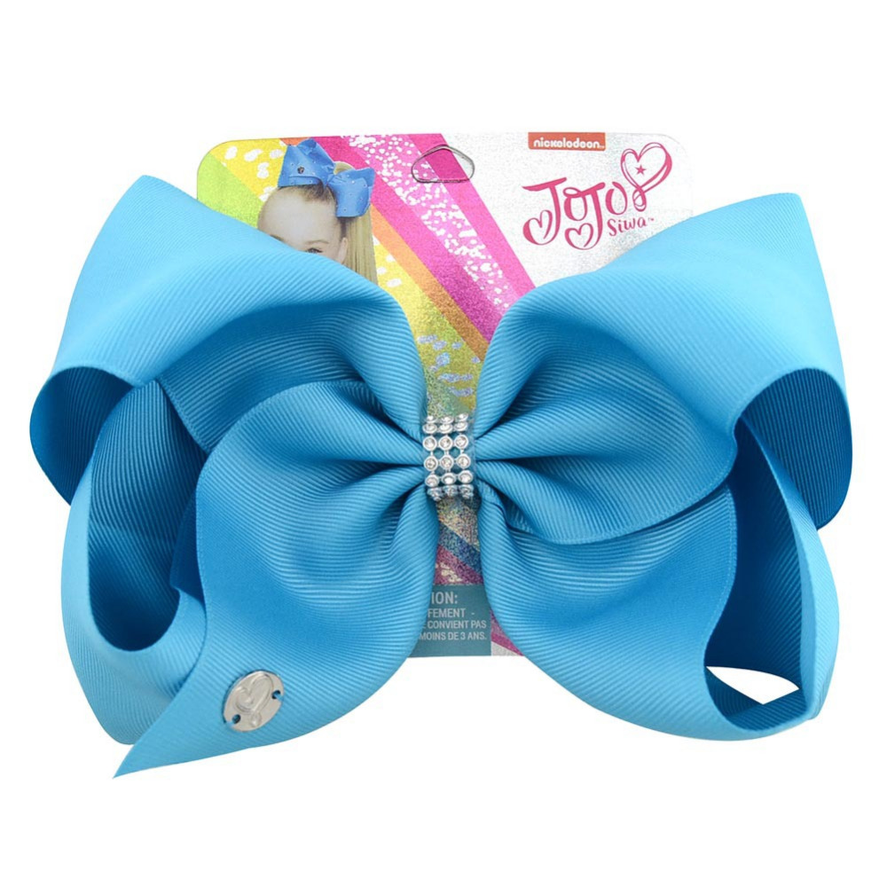 Kids Hair Accessories 8 Inch Large Grosgra Jojo Siwa Solid Color Ribbon Hair Bow With Rhinestone Alligator Clips For Baby Girls