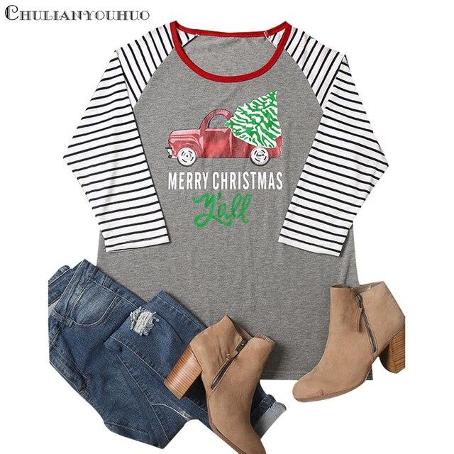 e260bdad01 Christmas Tree Shirt Raglan 3 4 Stripe Sleeve Funny Baseball Tshirt 2019  Clothing Plus Size