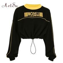 ArtSu Autumn Fashion Woman Hoodies Long Sleeve Hoody Oversized Sweatshirt Crop Hoodie Yellow Letter Black Tops ASHO20273