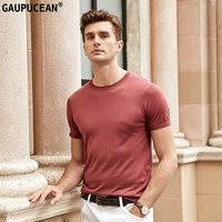 Men T shirt Lyocell Natural Silk Cotton Short Sleeve Soft Easy Care Cool Fashion Wine Red Summer Cool Man O neck T Shirt