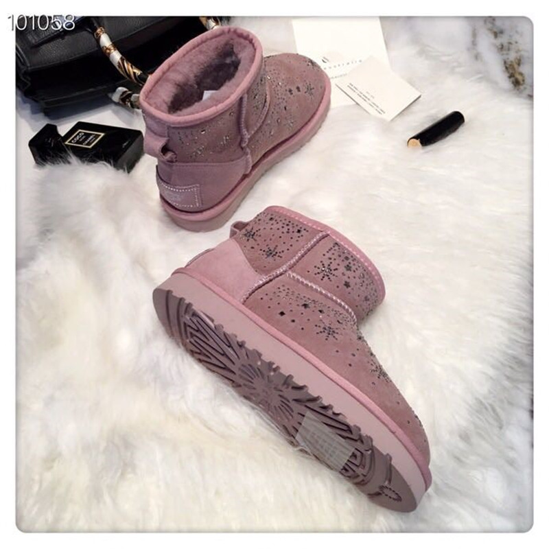 F.N.JACK Rhinestone Winter Boots Women Warm Plush Ankle Shoes Woman With  Fur Platform Snow Boots b0c4b498142b