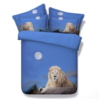 lonely lion under the bule sky bedding sets queen full king twin size 3d oil painting duvet cover 3/4pc pillowsham boy kids