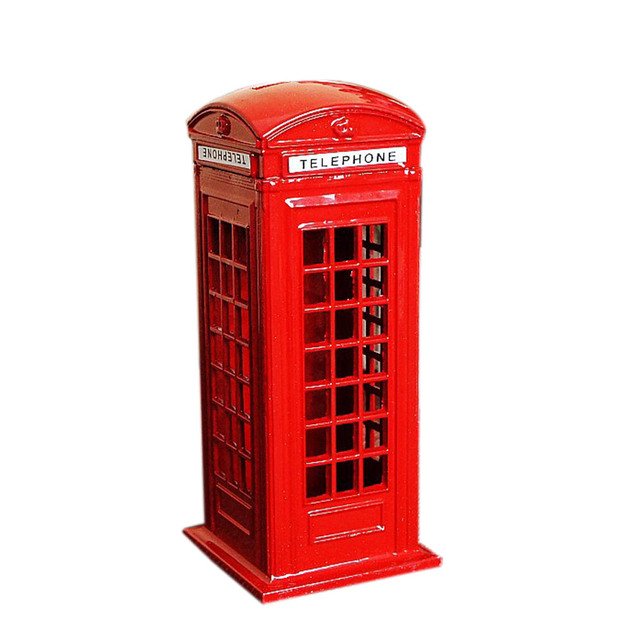 Nowy Brytyjski London Telephone Booth Figurka Model Banku Metalowe Monety Żółte Pole