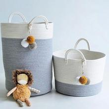 Cotton Thread Woven Bucket Laundry Basket Toy Dirty Clothes Storage Container Fashion