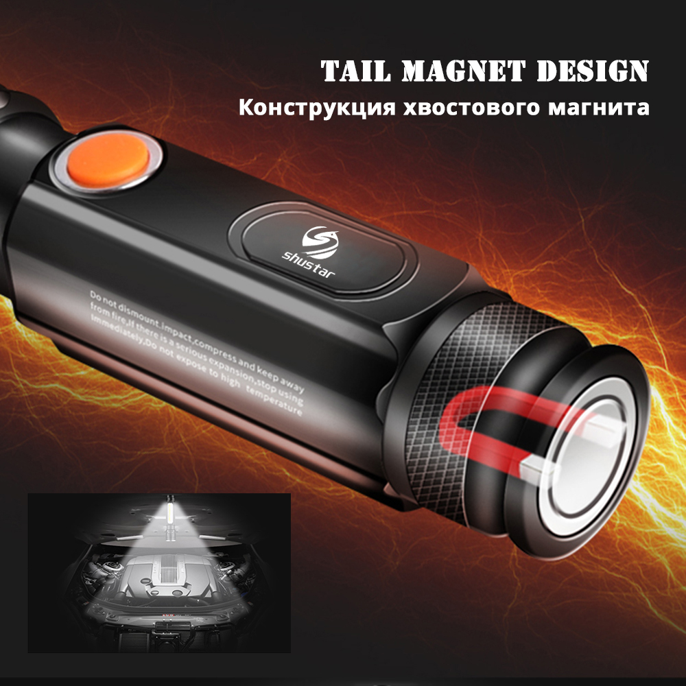 Купить с кэшбэком Multifunctional LED Flashlight USB Inside rechargeable battery Powerful T6 torch Side COB light design flashlight tail magnet