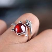 Garnet Ruby Fox Ring 925 Silver Bague Pure Joyas De Plata Wedding Red Stone S925 Sterling