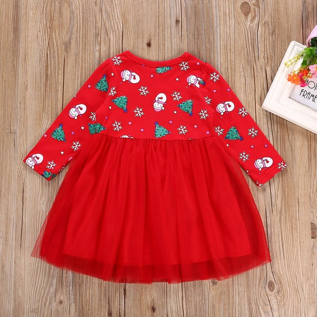 728c3d8842e6 Hot Children Kid Girls Christmas Dresses Toddler Kid Baby Girl Long Sleeve  Cartoon Snowman Print Dress Christmas Clothes M5