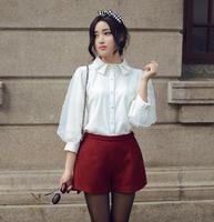 White Shirt Women 2018 Spring Korean Peter Pan Collar Pearl Beading Sheer Organza Patchwork Puff Sleeve Blouse Tops blusas T25
