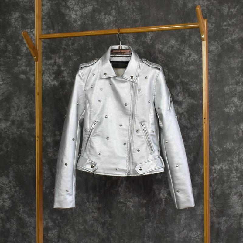 Printemps automne nouvelle mode en cuir argenté veste femmes en cuir manteau biker veste femmes dames en cuir veste courte 2019