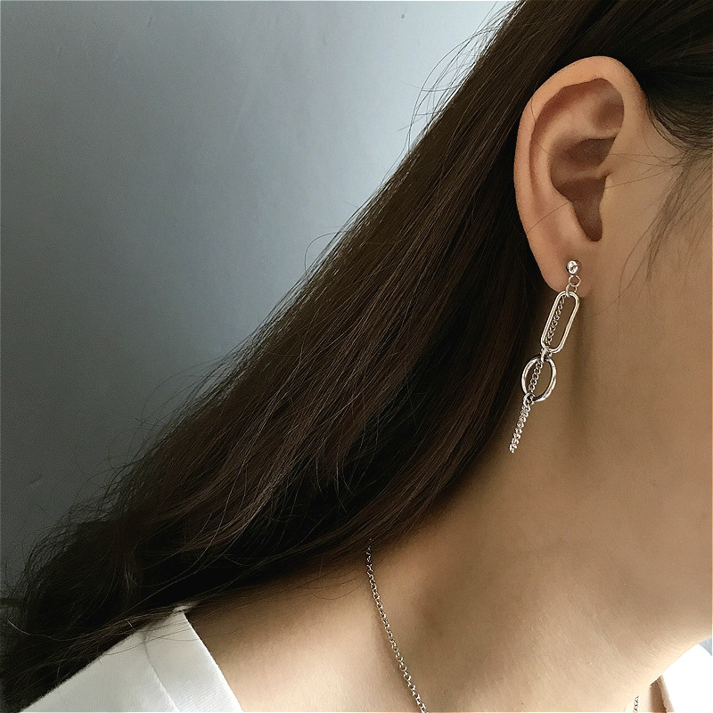 100 Real Silver 925 Tassel Earings Fashion Jewelry Flyleaf Asymmetrical Circle Vintage Dangle Drop Long Earrings For Women in Drop Earrings from Jewelry Accessories