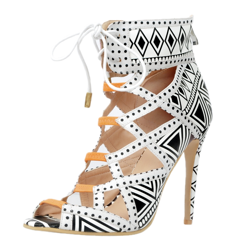 Polka Dot Gladiator Style Women Sandal High Heels Open Toe Lace-Up Cut-Out Womens Luxury Designer Shoes Gladiator Sandals scalloped lace spliced polka dot briefs