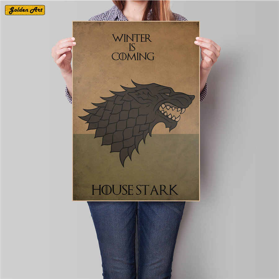 Game of Thrones EUA TV Filme cartaz de papel kraft retro imprimir imagem pintura antiga do vintage bar cafe parede adesivo 45.5x31.5cm