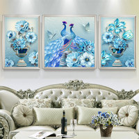 3 pieces New Fresh Peacock Modern DIY Diamond Embroidery Painting Full Round Drill Animal Diamond Mosaic Kit For Home Decoration