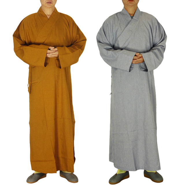 2 colors Shaolin Temple costume Zen Buddhist Robe Lay Monk Meditation Gown Buddhism Monk clothes set Training Uniform Suit